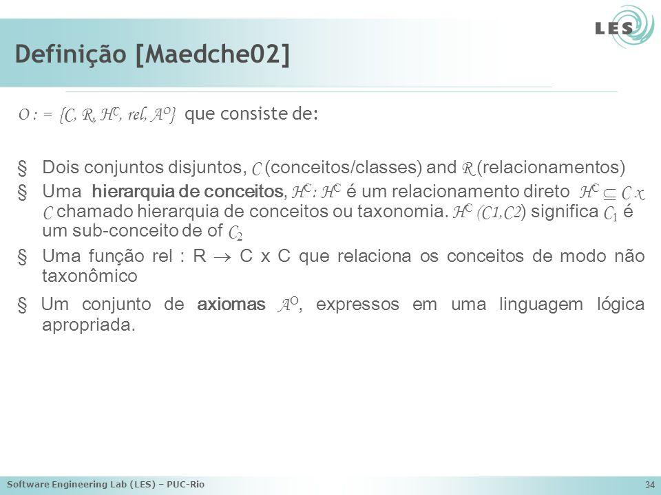 Definição [Maedche02] O : = {C, R, HC, rel, AO} que consiste de: